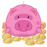 Piggy Bank with Gold Dollar Coins - Illustration Stock Photography