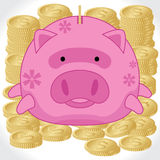 Piggy Bank with Gold Dollar Coins - Vector & Illustration Stock Photo
