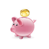 Piggy bank with golden coin falling  Royalty Free Stock Photos