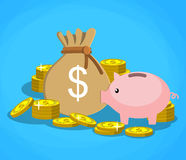 Piggy bank with golden coins and bag of money Stock Photos