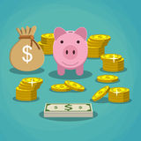 Piggy bank with golden coins and bag of money Royalty Free Stock Photos