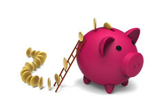 Piggy bank and golden coins Royalty Free Stock Images