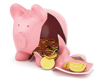 Piggy bank with golden coins. 3d render of broken piggy bank with golden coins Royalty Free Stock Photos