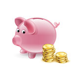Piggy bank with golden coins  Stock Images