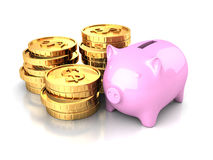 Piggy Bank with Golden Dollar Coins. 3d Render Illustration Stock Photos