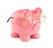 Piggy bank in golden eyeglasses  Royalty Free Stock Photos