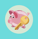 Piggy bank with golden key flat design vector Stock Images