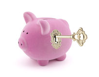 Piggy bank with golden key Royalty Free Stock Photos