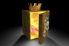 Piggy bank and golden safe. 3d illustration of piggy bank into a golden safe Stock Photos