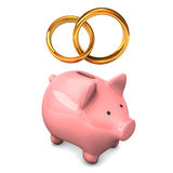 Piggy Bank Golden Wedding Bands Stock Photos