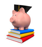 Piggy Bank with Graduation Cap and Books. On white background. 3D render Royalty Free Stock Photo