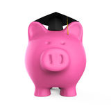 Piggy Bank with Graduation Cap Royalty Free Stock Image
