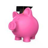 Piggy Bank with Graduation Cap Stock Photo