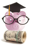 Piggy bank with graduation hat Stock Image