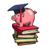 Piggy bank in graduation hat on stack of books. Cartoon piggy bank in graduation hat on stack of books. Saving plan for education, student loan, financial aid Royalty Free Stock Photo