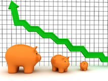Piggy bank graph Royalty Free Stock Photo