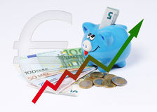 Piggy bank with graphic euro coins and bill Royalty Free Stock Images