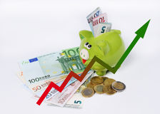 Piggy bank with graphic euro coins and bill Royalty Free Stock Photography