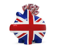 Piggy Bank with Great Britain Pound Stock Photos