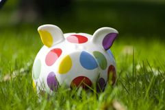 Spotted piggy bank in green grass. White piggy bank with coloured polka dots in green grass Royalty Free Stock Photo