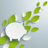 Piggy Bank Green Leaves. Silver background with leaves and piggy bank infographic Royalty Free Stock Image
