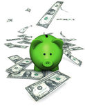 Piggy Bank Green Money. A funny green piggy bank or money-box with falling money (dollar Stock Images