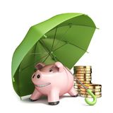 Piggy bank, green umbrella and coins 3D. Render illustration isolated on white background Stock Image