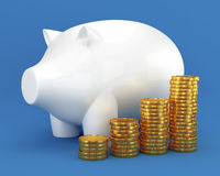 Piggy bank and group of coins Stock Photos