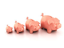Piggy bank growing Royalty Free Stock Photos