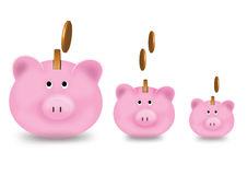 The piggy bank is growing up. Isolate background Royalty Free Stock Photo