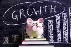 Piggy Bank with growth chart Royalty Free Stock Images