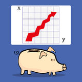 Piggy Bank Growth Chart. A traditional piggy bank underneath a presentation slide with a chart that shows an upward arrow for improvement in business, with copy Royalty Free Stock Images