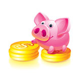 Piggy bank guard Stock Images