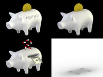 Piggy bank H1N1 set Stock Photos