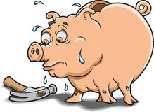 Piggy Bank and Hammer. This is a Piggy Bank wondering if it is time for a break Stock Photo