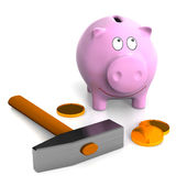 Piggy bank and hammer. Royalty Free Stock Images