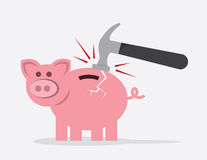 Piggy Bank Hammer Crack. Piggy bank hit by hammer with crack Stock Photos