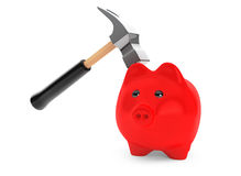 Piggy Bank and Hammer Royalty Free Stock Images