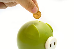 Piggy bank and hand Royalty Free Stock Photo