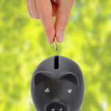 Piggy bank and hand with coin royalty free stock photo