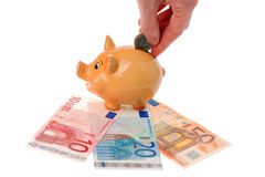 Piggy bank, hand and euro currency Royalty Free Stock Photo