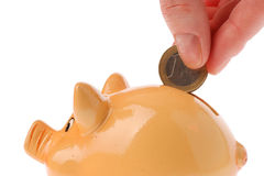 Piggy bank, hand and euro currency Royalty Free Stock Images