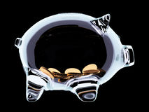 Piggy bank with handful of coins inside on black Stock Image