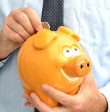 Piggy bank. In the hands Stock Image