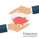 Piggy bank in hands Royalty Free Stock Photo