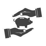 Piggy bank in hands icon, Stock Photo