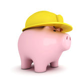 Piggy bank with hardhat Royalty Free Stock Image