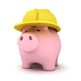 Piggy bank with hardhat Royalty Free Stock Images