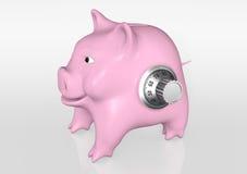 Piggy bank has a knob of combination Stock Photos