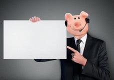Piggy bank head business man Royalty Free Stock Photos